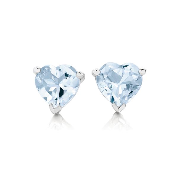 9ct White Gold Aquamarine Heart Stud Earrings