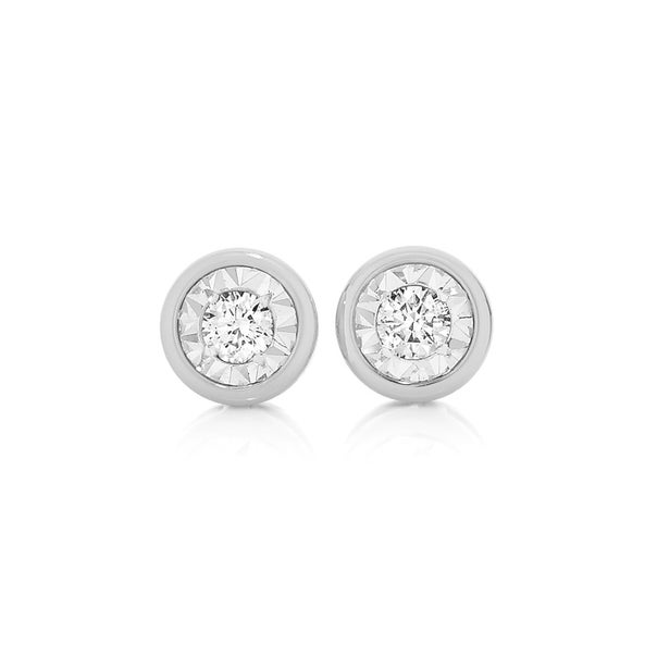 9ct White Gold Diamond Bezel Set Stud Earrings