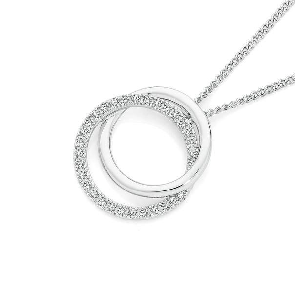 9ct White Gold Diamond Double Circle Pendant