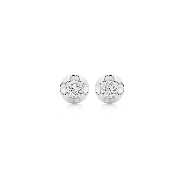 9ct White Gold Diamond Four Claw Stud Earrings