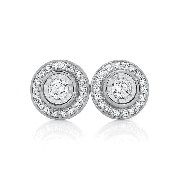 9ct White Gold Diamond Halo Stud Earrings