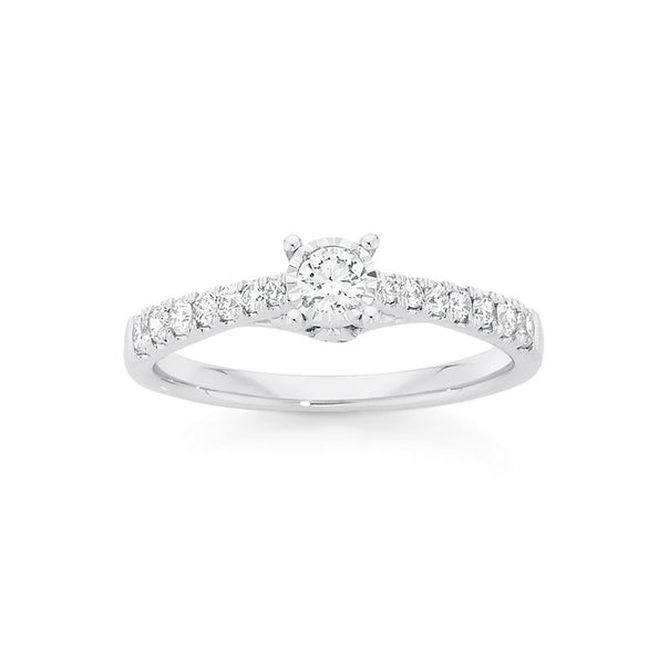 9ct White Gold Diamond Solitaire Shoulder Ring