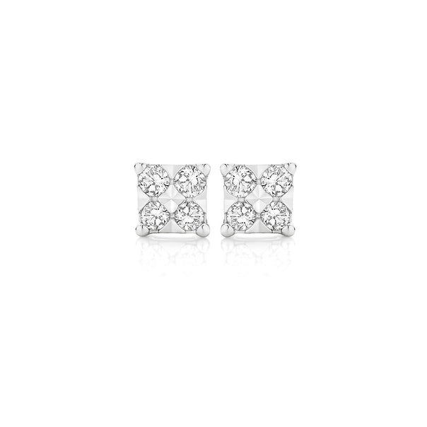 9ct White Gold Diamond Square Look Stud Earrings