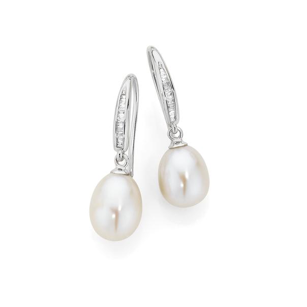 9ct White Gold Pearl & Diamond Drop Earrings