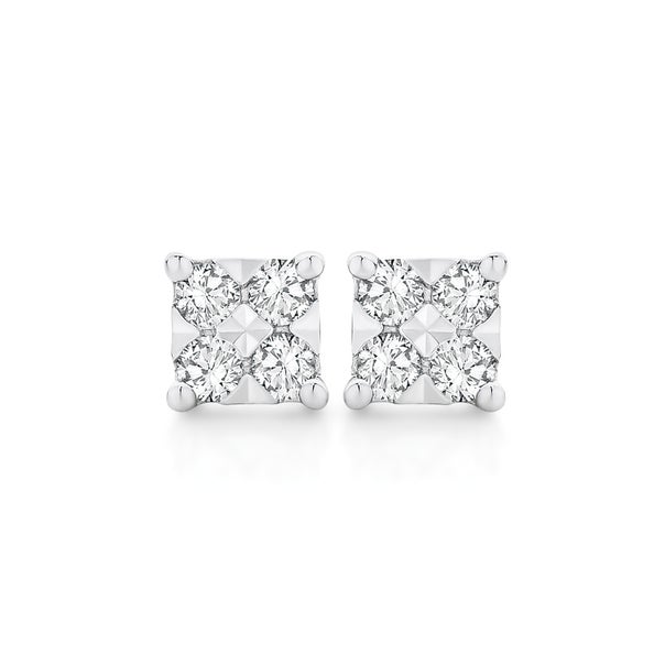 9ct Yellow Gold Diamond Small Square Stud Earrings