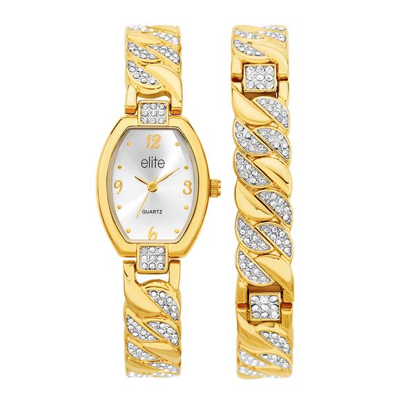 Elite Ladies Gold Tone Watch and Bracelet Set