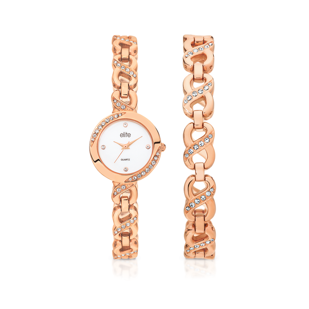 Elite Ladies Rose Tone Infinity Bracelet and Watch Set