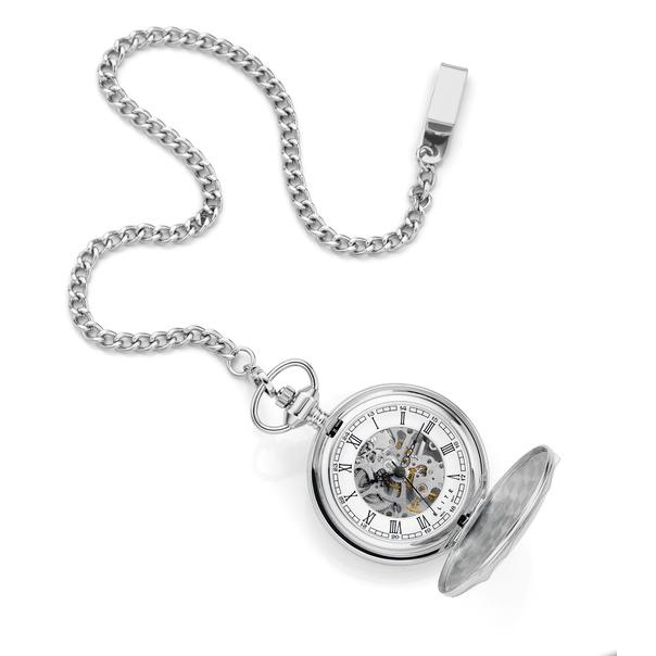 Elite Men's Manual Skeleton Pocket Watch
