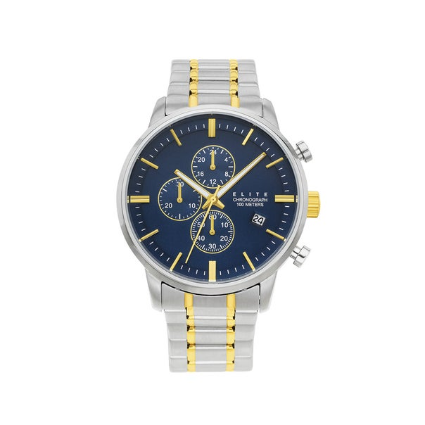 Elite Mens Silver and Gold Tone Watch