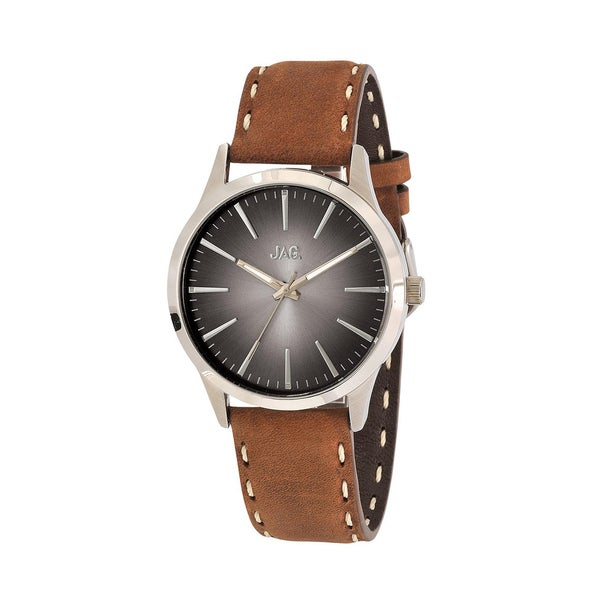 JAG Gents Hunter Silver Tone & Brown Leather Watch
