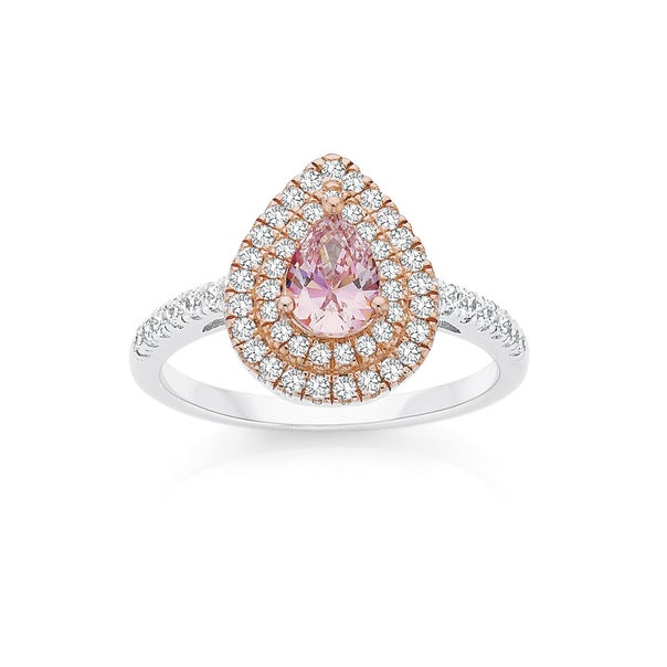 Silver and Rose Gold Plate Blush Pink CZ Pear Cluster Ring