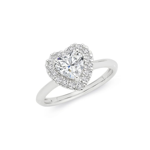 Silver CZ Heart Cluster Ring