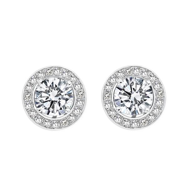 Silver CZ Interchangeable Stud Earrings