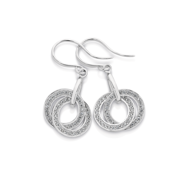 Silver CZ Interlocking Circle Earrings