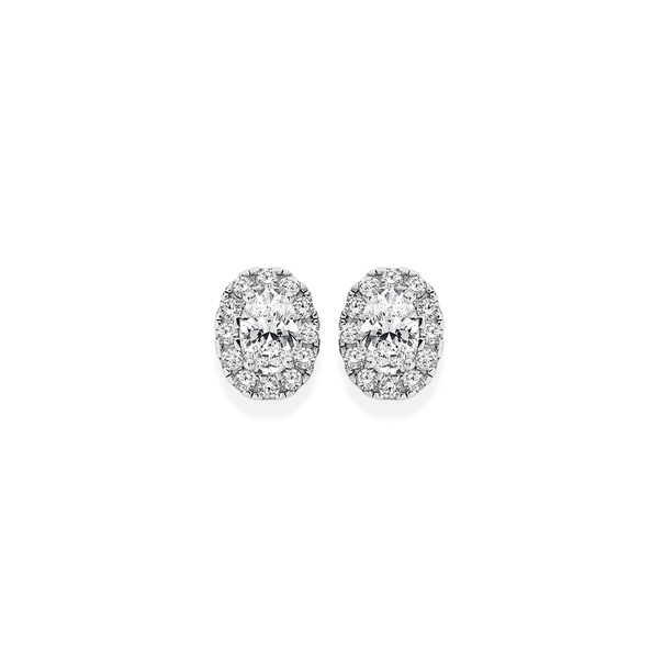 Silver CZ Small Oval Cluster Earrings