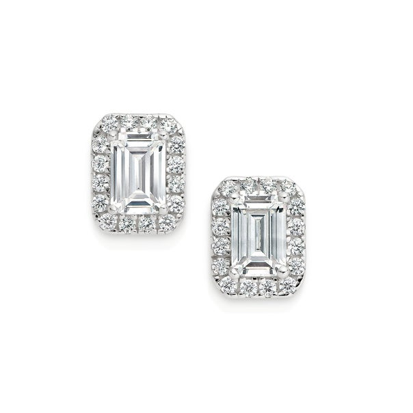 Silver CZ Small Rectangular Cluster Earrings