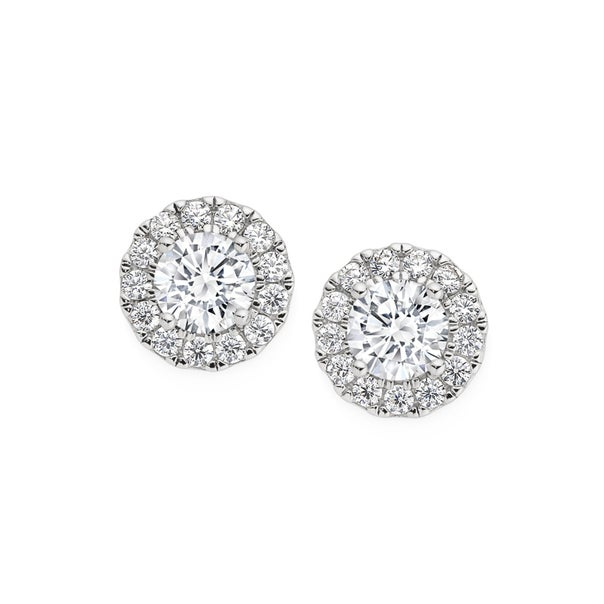 Silver CZ Small Round Cluster Earrings