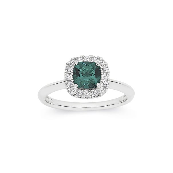 Silver Green CZ Cushion Cluster Ring