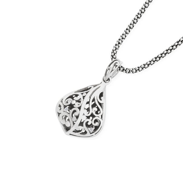 Silver Oxidised CZ Scroll Teardrop Pendant
