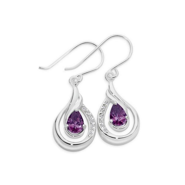Silver Purple and White CZ Pear Shape Wave Loop Earrings