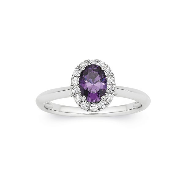 Silver Purple CZ Oval Cluster Ring