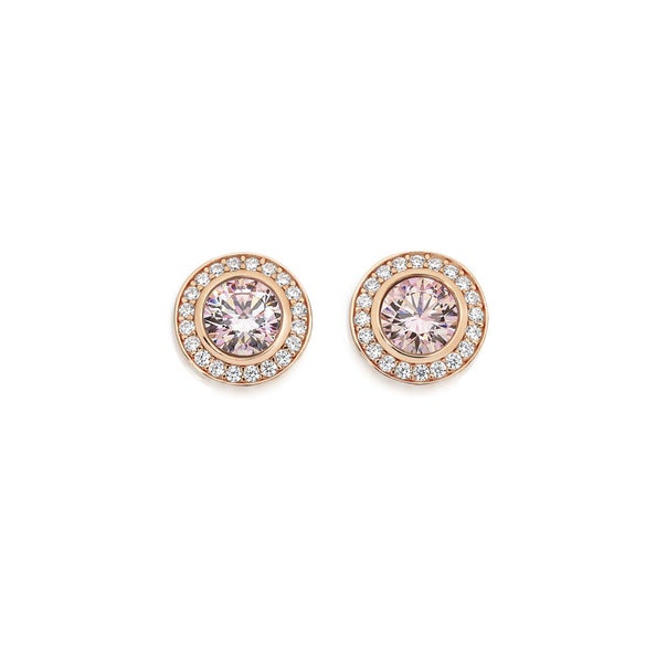 Silver & Rose Gold Plated Blush Pink CZ Bezel Earrings